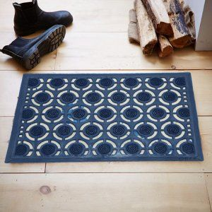 Kuber Industries™ PVC Door Mat for Offices,Hotel ,Restaurtaurant, Home,Shop Set of 1 Pc  (60*40 Cm) Blue Round Design