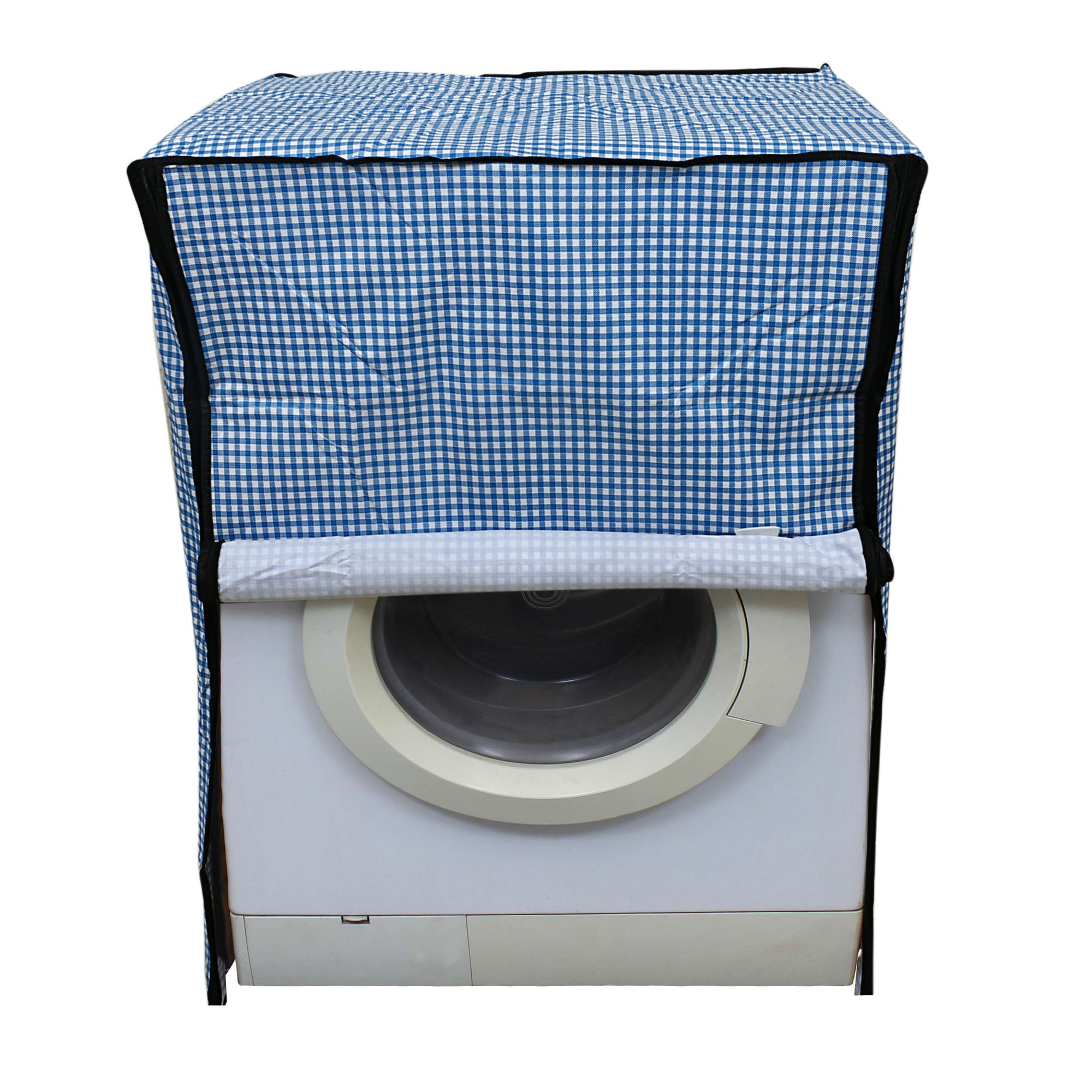 Kuber Industries PVC Front Load Fully Automatic Washing Machine Cover (Blue)-CTKTC3528