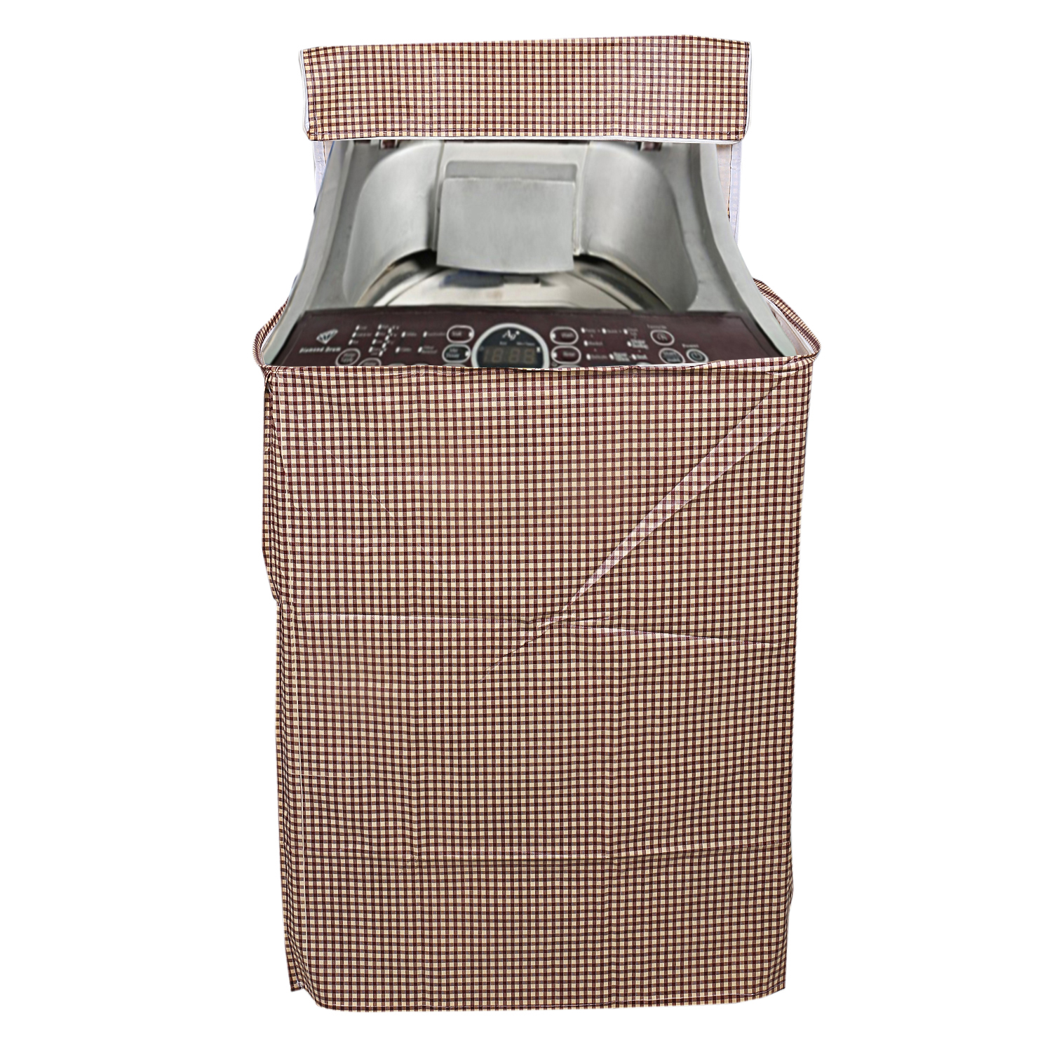 Kuber Industries PVC Top Load Fully Automatic Washing Machine Cover (Brown)