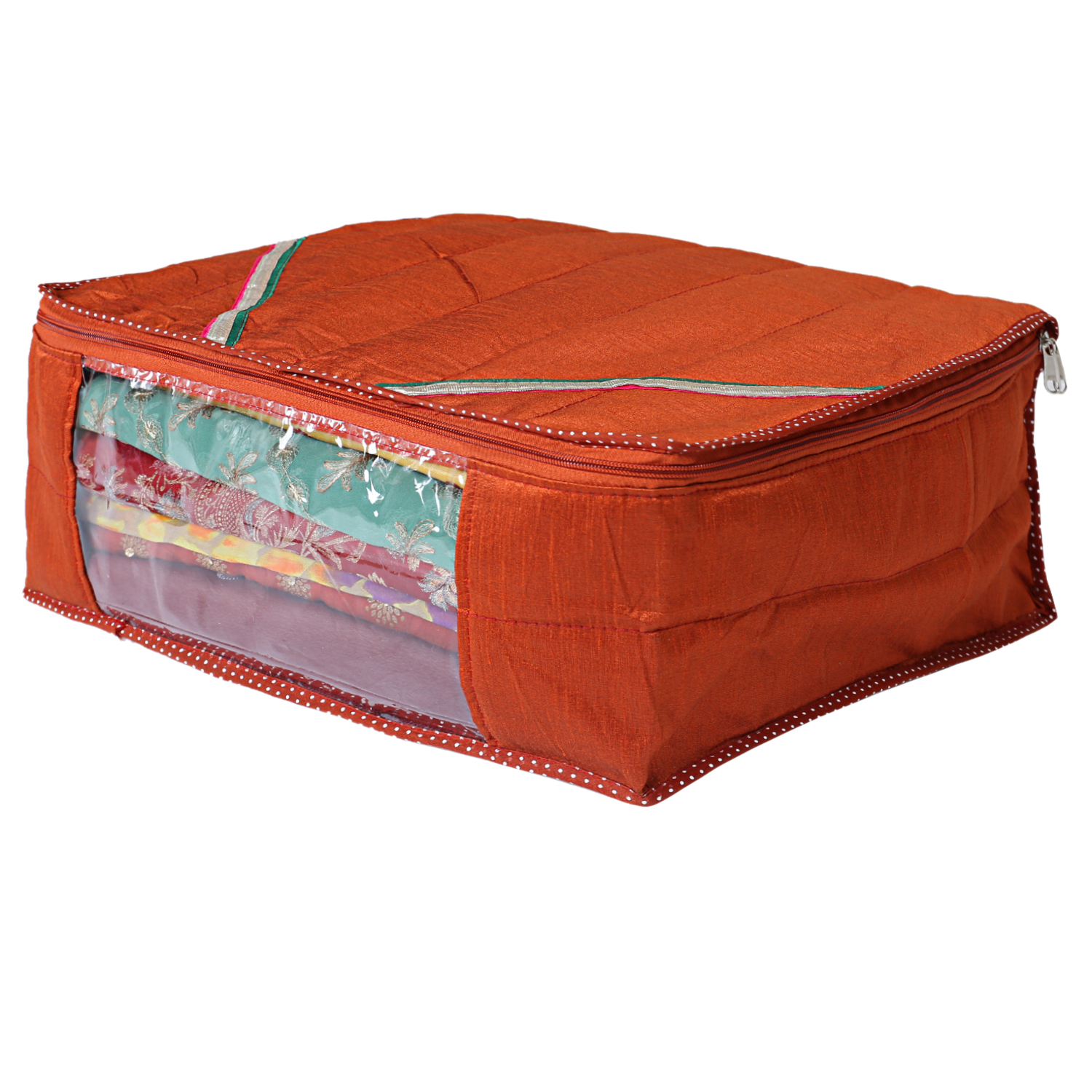 Kuber Industries Raw Silk Saree Cover Wardrobe Organizer (Red)-CTKTC2840