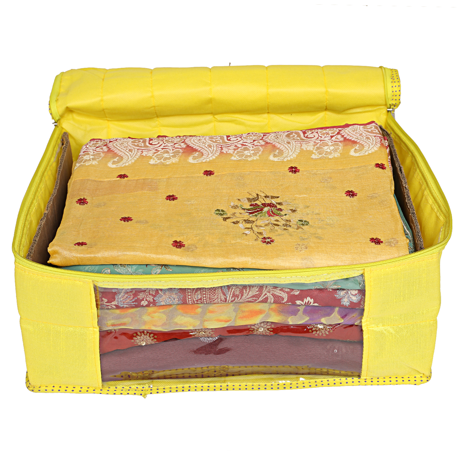 Kuber Industries Raw Silk Saree Cover Wardrobe Organizer (Yellow)-CTKTC2835
