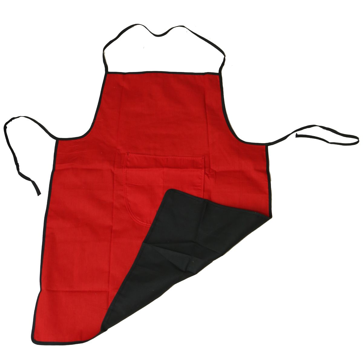 Kuber Industries™ Red & Black Revesible Kitchen Apron With Front Pocket Set of 2 Pcs  (Code- APRN04) Can be used from both sides