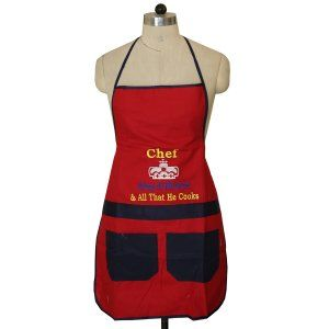 Kuber Industries™ Red & Blue Waterproof Kitchen Apron With Front Pocket (Code- Ap012)