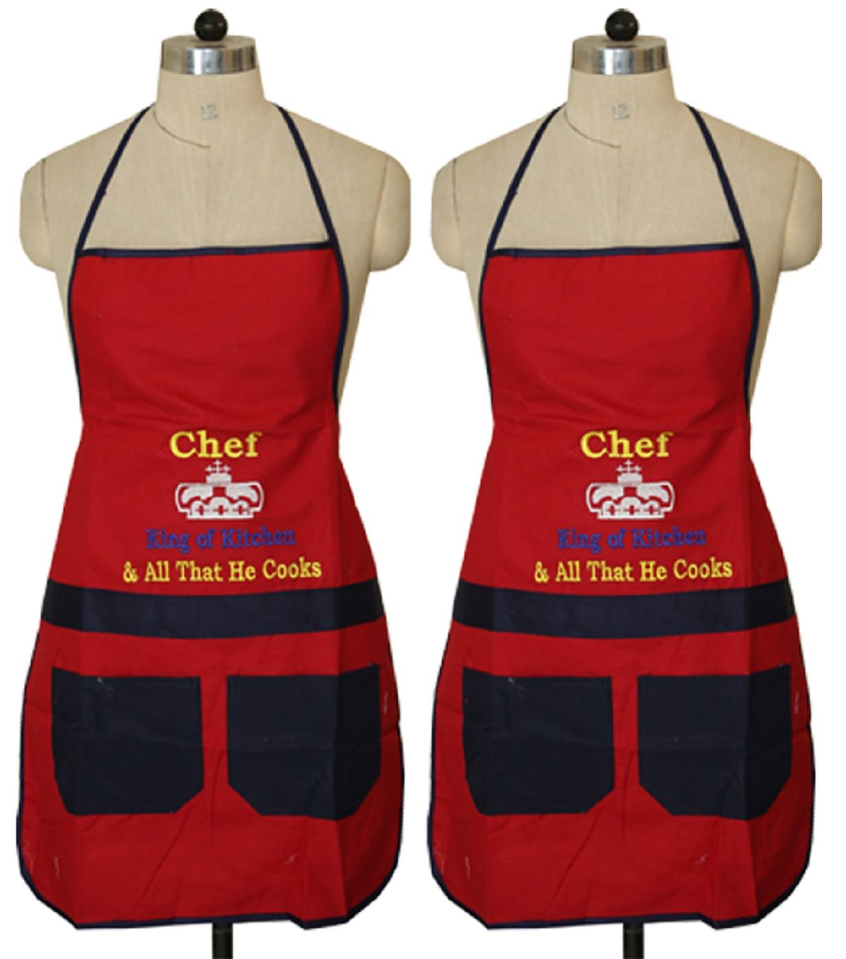Kuber Industries™ Red & Blue Waterproof Kitchen Apron With Front Pocket Set of 2 Pcs (Code- Ap019)