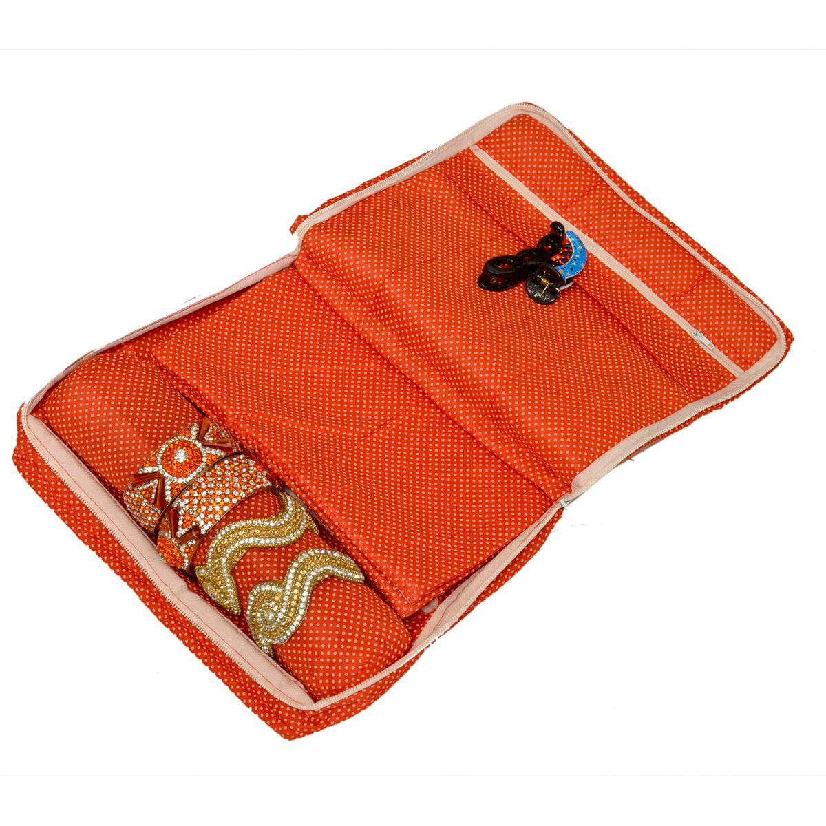 Kuber Industries™ Red Quilted Cotton Jewellery Box (Code-KST016)