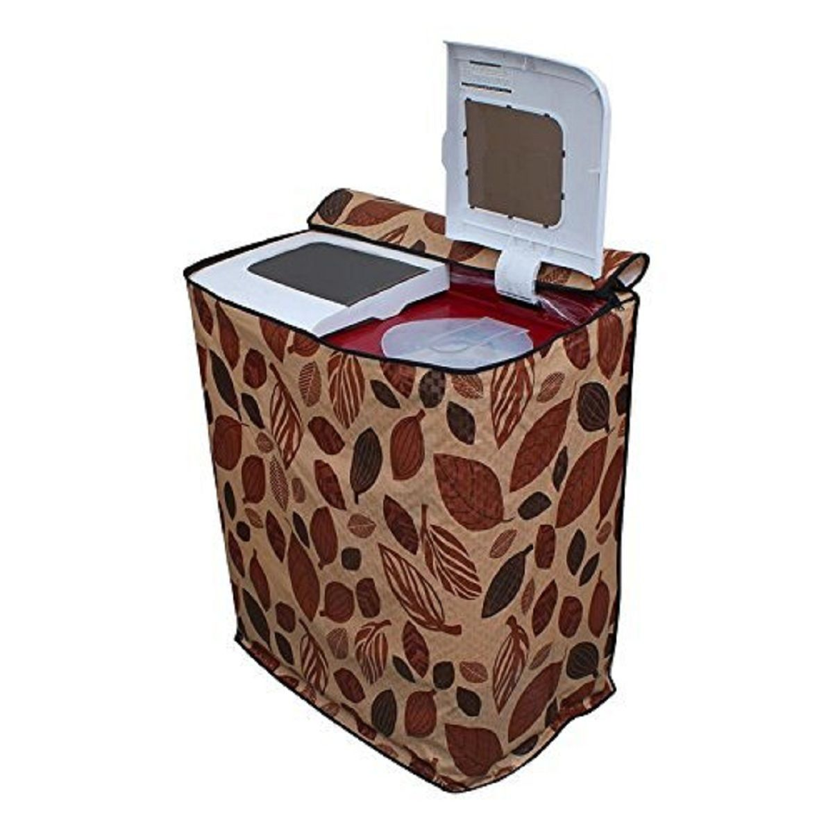 Kuber Industries™ Semi Automatic Washing Machine Cover In Leaf Design Brown Color (Suitable For 6 kg, 6.5 kg, 7 kg, 7.5 kg, )