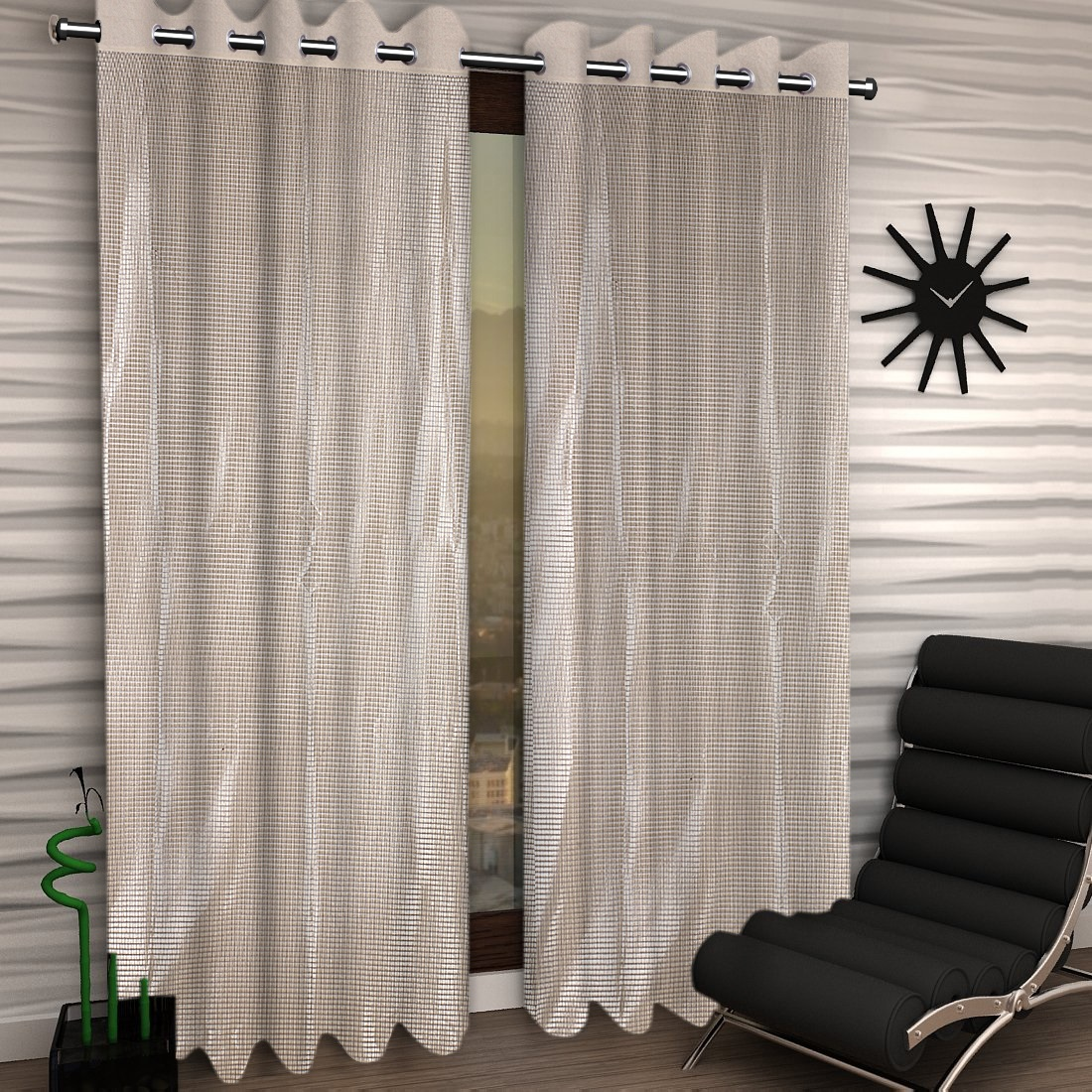 Kuber Industries Shining 2 Pieces Sheer Door Curtains Silk Look Semi Transparent Voile Grommet Elegance Curtains for Living Dining Room, Bedroom Drapes 48 x 84 Inch Long, (Cream) - CTKTC40559