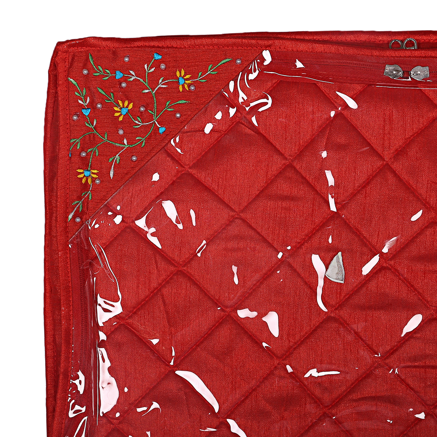 Kuber Industries Silk 3 Pieces Single Packing Saree Cover (Red) -CTLTC10599