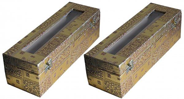 Kuber industries Single Roll Bangle Box in Coated Hardboard Material Set of 2 Pcs (Golden)  (Code-COM012)