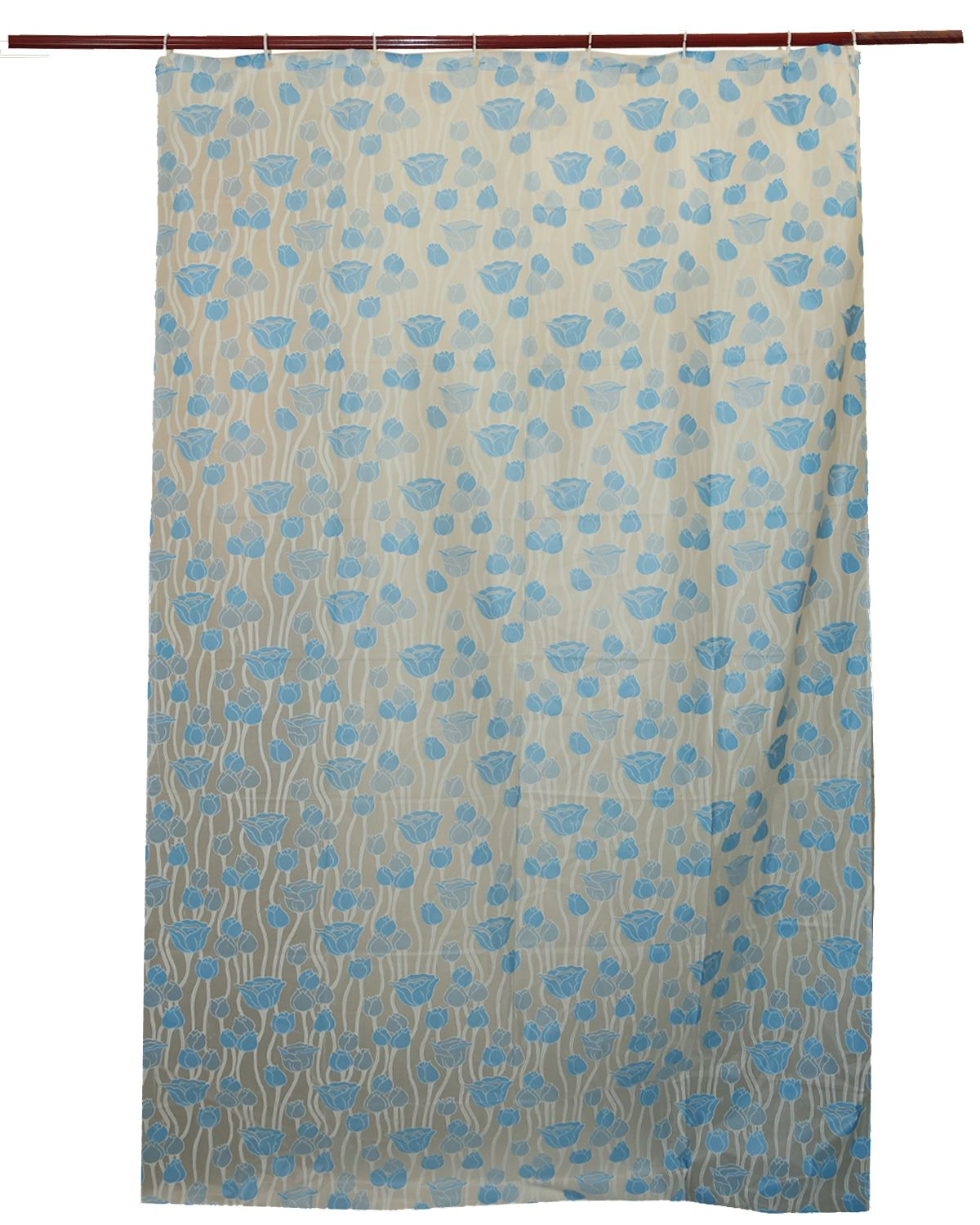 Kuber Industries™ Sky Blue Floral Design PVC Premium Shower Curtain - 7 Feet -84*54 Inches Set of 2 Pcs- 8 Hooks (SHWCU024)