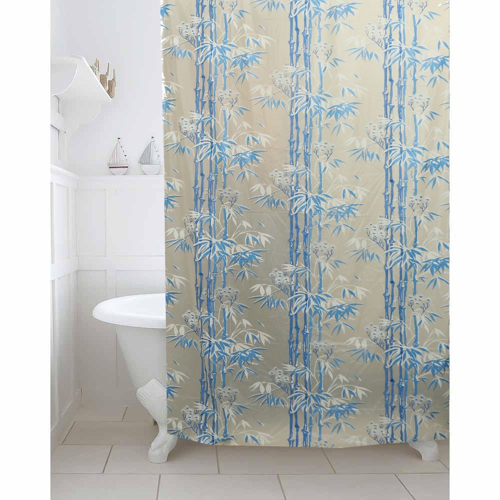 Kuber IndustriesTM Sky Blue Leaf Design PVC Premium Shower Curtain