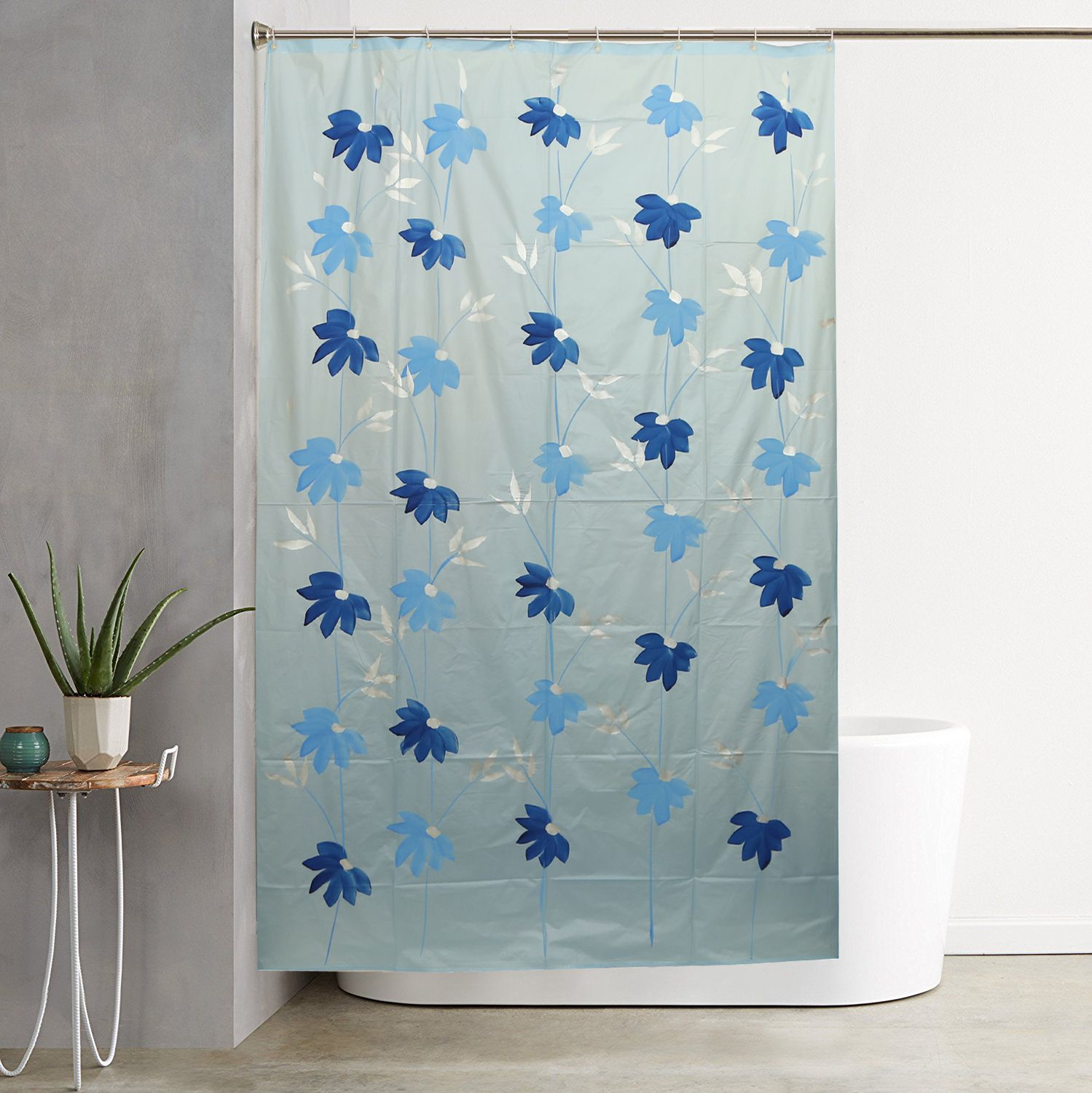 Kuber Industries Skyblue Floral Design Pvc Premium Shower Curtain 7 Feet 8454 Inches 8 Hooks Shwc010 448111 L