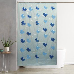 7 foot shower curtain. Kuber Industries  SkyBlue Floral Design PVC Premium Shower Curtain 7 Feet Pack Of