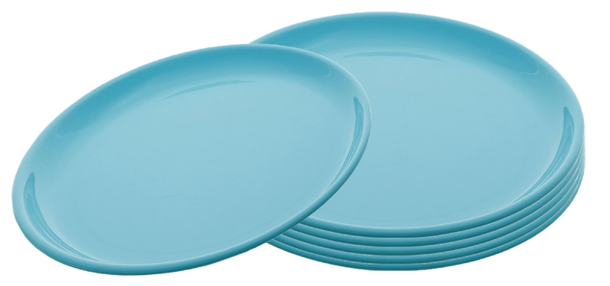 Kuber Industries Small Round 6 Pieces Unbreakable Plastic Microwave Safe Dinner Plates (Green) - CTKTC34841