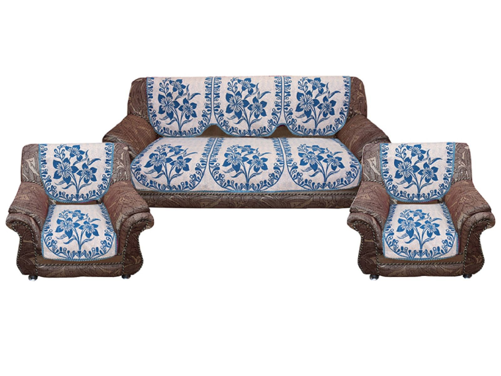 Kuber Industries™ Sofa Cover Heavy Cotton Cloth 5 Seater Set -10 Pieces- Sky Blue (Flower Design) (Code-SFC16)