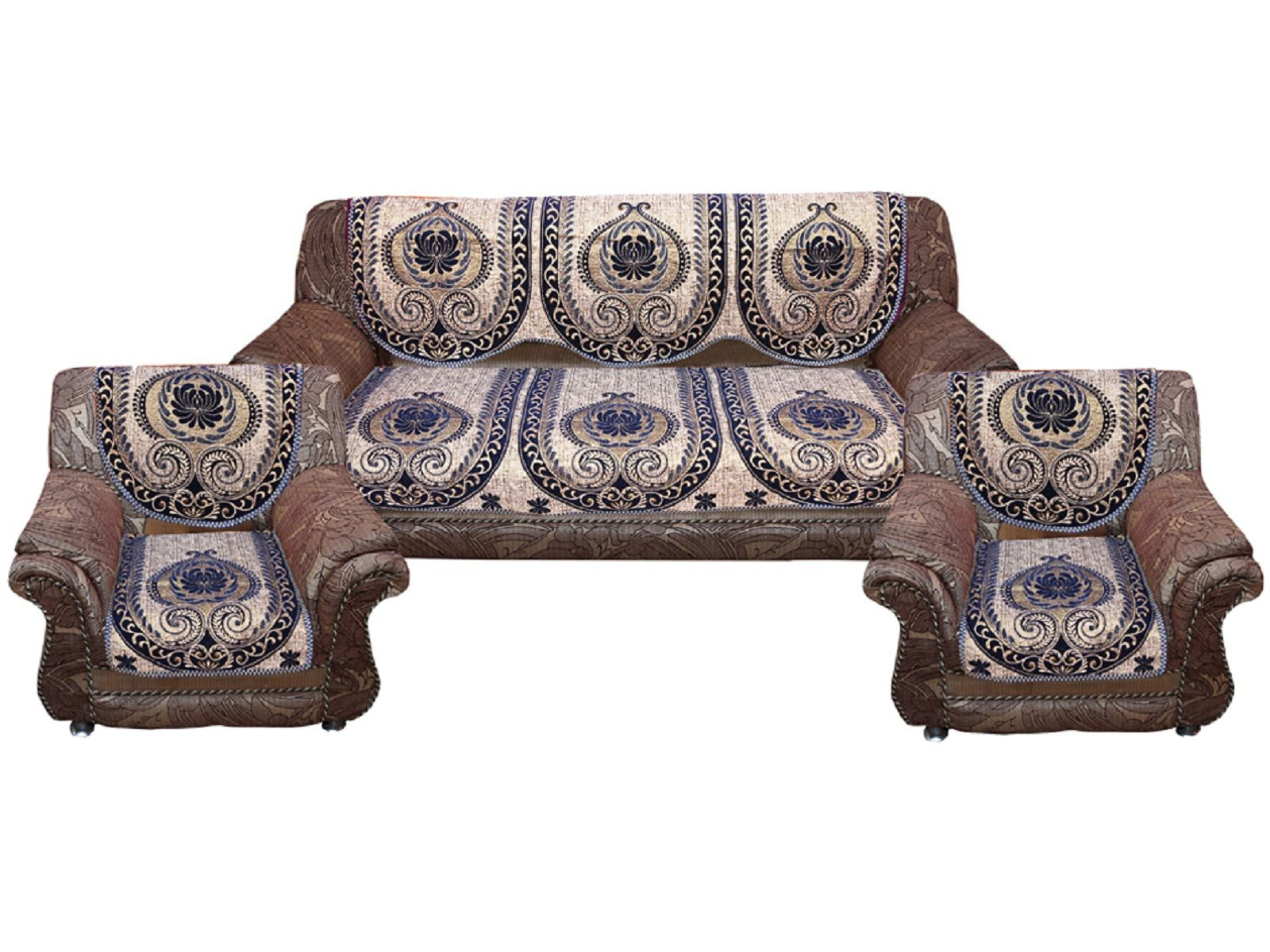 Kuber Industries™ Sofa Cover Heavy Velvet Cloth 5 Seater Set -10 Pieces- Blue & Golden (Exclusive Design) (Code-SFC04)