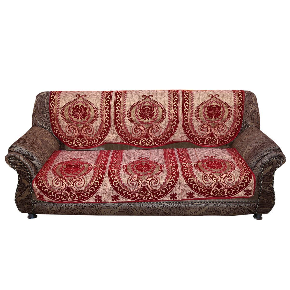 Kuber Industries™ Sofa Cover Heavy Velvet Cloth 5 Seater Set -10 Pieces- Maroon & Golden (Exclusive Design) (Code-SFC22)