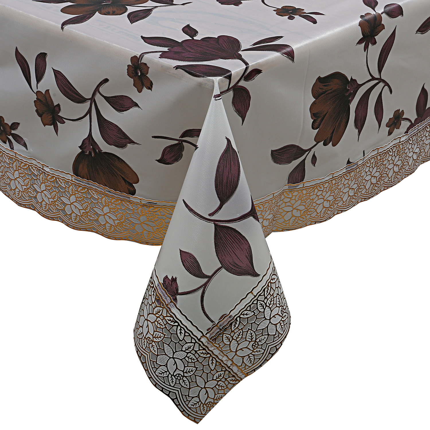 Kuber Industries Soft PVC 1 Piece 6 Seater Dining Table Cover (Cream) -CTKTC5811
