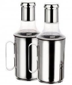 Kuber Industries™ Stainless Steel Oil Dispenser,Oil Dropper With Handle Set of 2 Pcs(750 ML) Code-OD12