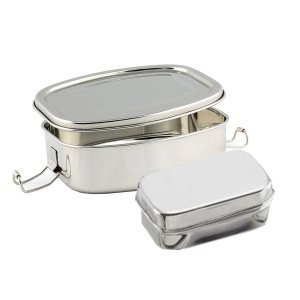 Kuber Industries™ Stainless Steel Rectangular Shape Lunch Box | School Lunch Box Set of 1 Pc (Regular Size) Code-STLN05