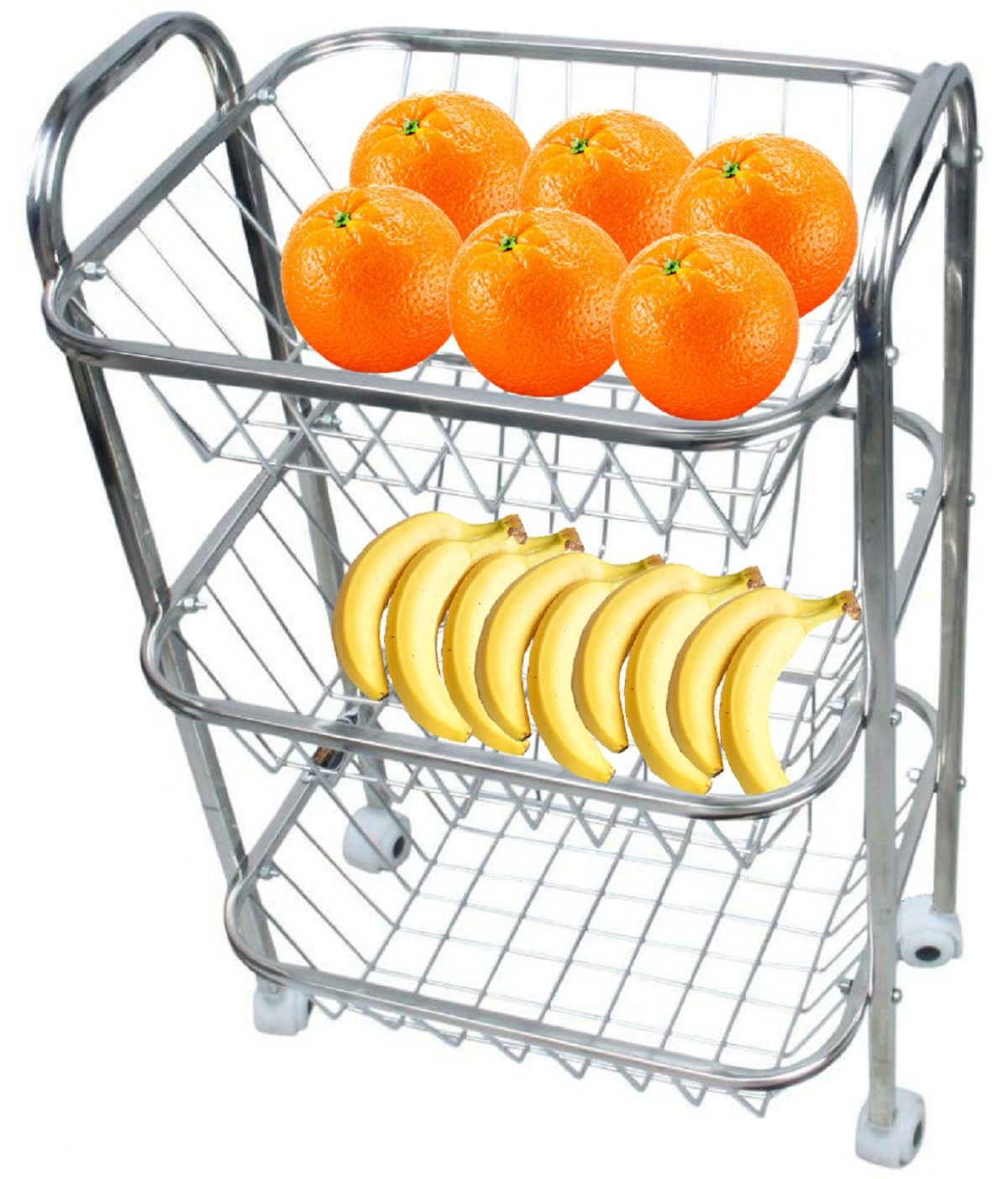 Kuber Industries™ Stainless Steel Three Tier Fruits & Vegetable Trolley/Multipurpose kitchen storage shelf Rack/Basket with Four Wheel (Set of 1 Pc) Code-Frt03
