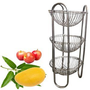 Kuber Industries™ Stainless Steel Three Tier Fruits & Vegetables Round Trolley/ Multipurpose kitchen storage shelf rack/ Basket (Set of 1 Pc)
