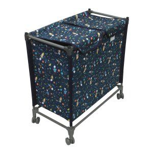 Kuber Industries™ This and That Basket Duo, Space Saving and Portable - Laundry Basket with Wheels, Size: 68x64x34 cm - Set of 1 Pc (Blue) Portlb05