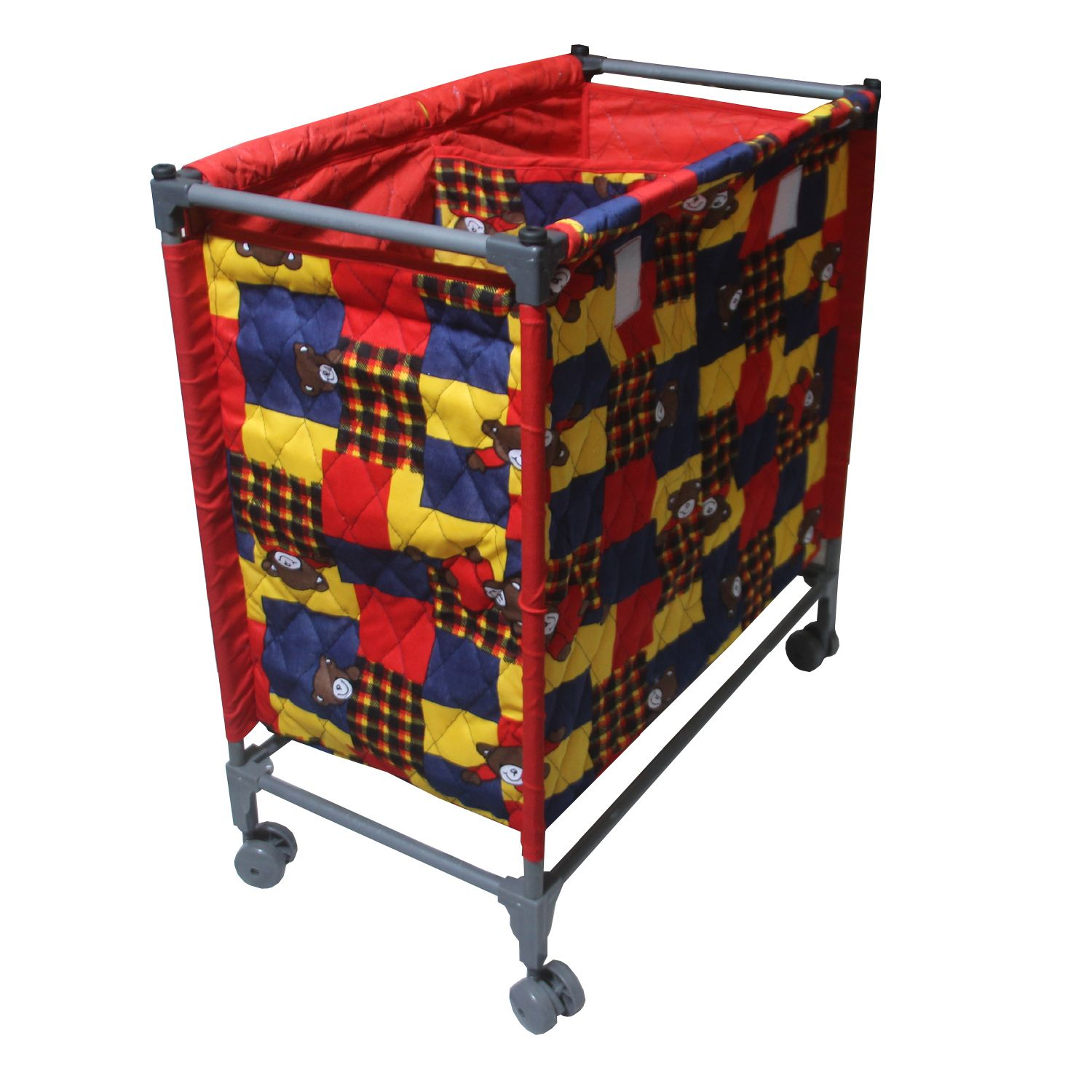 Kuber Industries™ This and That Basket Duo, Space Saving and Portable - Laundry Basket with Wheels, Size: 68x64x34 cm - Set of 1 Pc (Multi-checkered) Portlb03