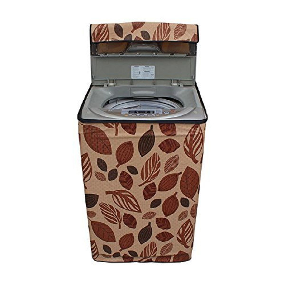 Kuber Industries™ Top Load Fully Automatic Washing Machine Cover In Leaf Design Brown Color (Suitable For 6 kg, 6.5 kg, 7 kg, 7.5 kg )