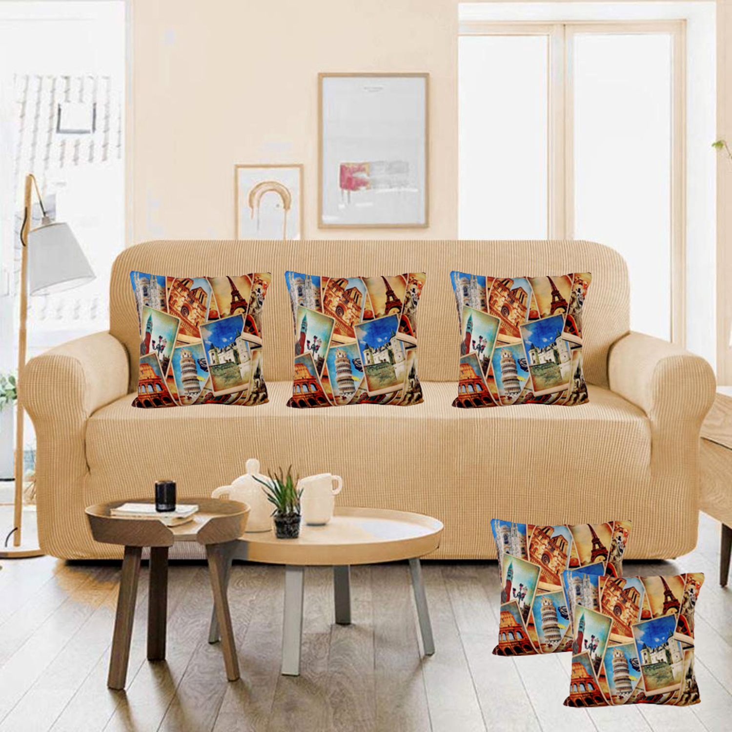 "Kuber Industries Tourism Place Design Design 5 Pieces Cotton Cushion Cover - 16""x16""(Gold) -CTKTC24376"