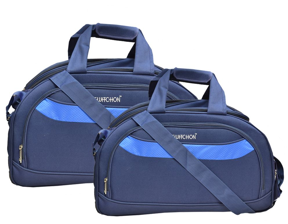 Kuber Industries™ Travel Duffle Wheel Luggage Bag,Shoulder Bag with Inner Pocket Set of 2 Pcs (Blue) Large + Small