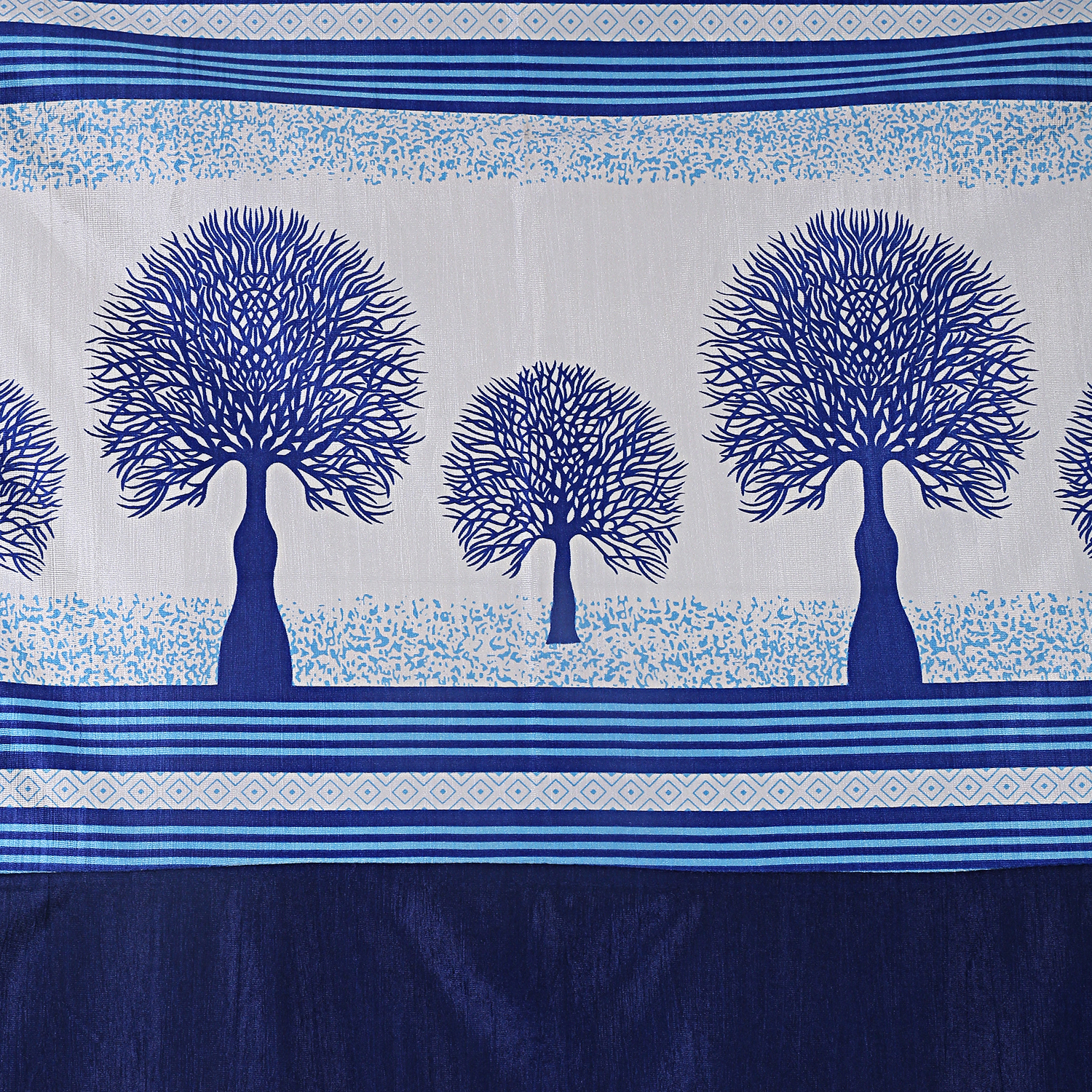 Kuber Industries Tree Design 4 Pieces Polyester Eyelet Door Curtain 7 Feet (Blue)-CTKTC14265