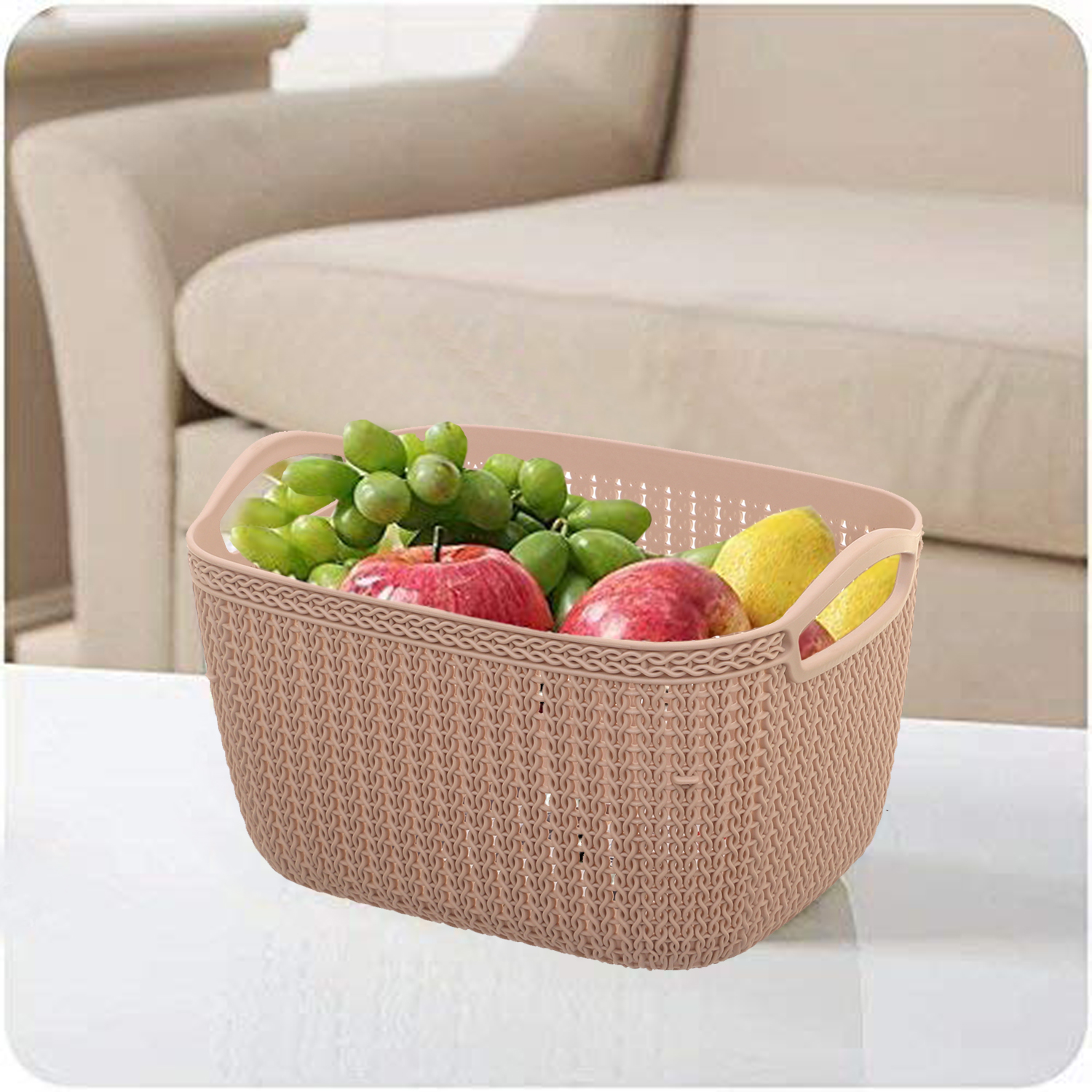 Kuber Industries Unbreakable Plastic 2 Pieces Multipurpose Large Size Flexible Storage Baskets/Fruit Vegetable Kitchen Organizer with Handles (peach) - CTKTC30618