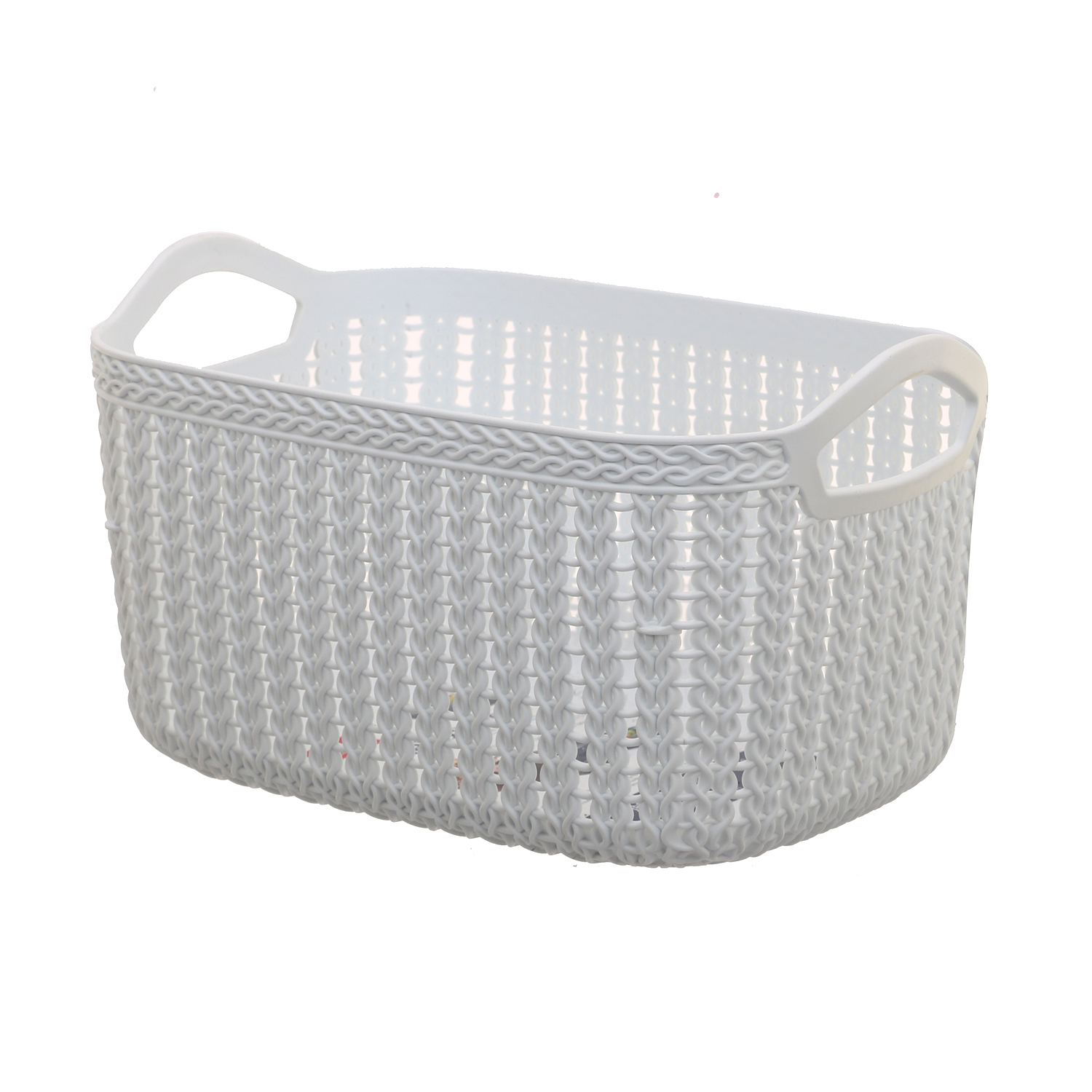 Kuber Industries Unbreakable Plastic 4 Pieces Multipurpose Medium Size Flexible Storage Baskets/Fruit Vegetable Kitchen Organizer with Handles (White) - CTKTC30631