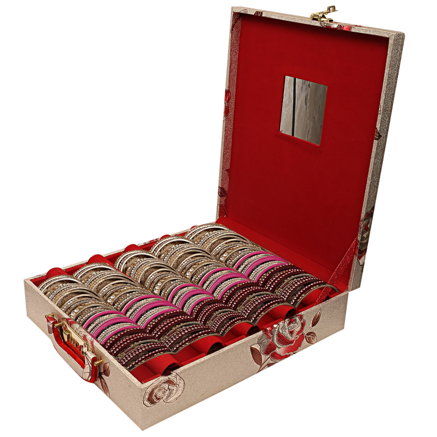 Kuber Industries Wooden 1 Piece Five Rod Bangle Storage Box with Lock System (Gold) -CTKTC6849