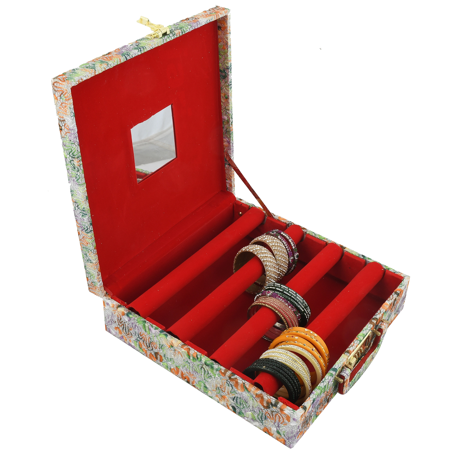 Kuber Industries Wooden 1 Piece Four Rod Shining Bangle Storage Box with Lock System (Orange & Green) -CTKTC39386