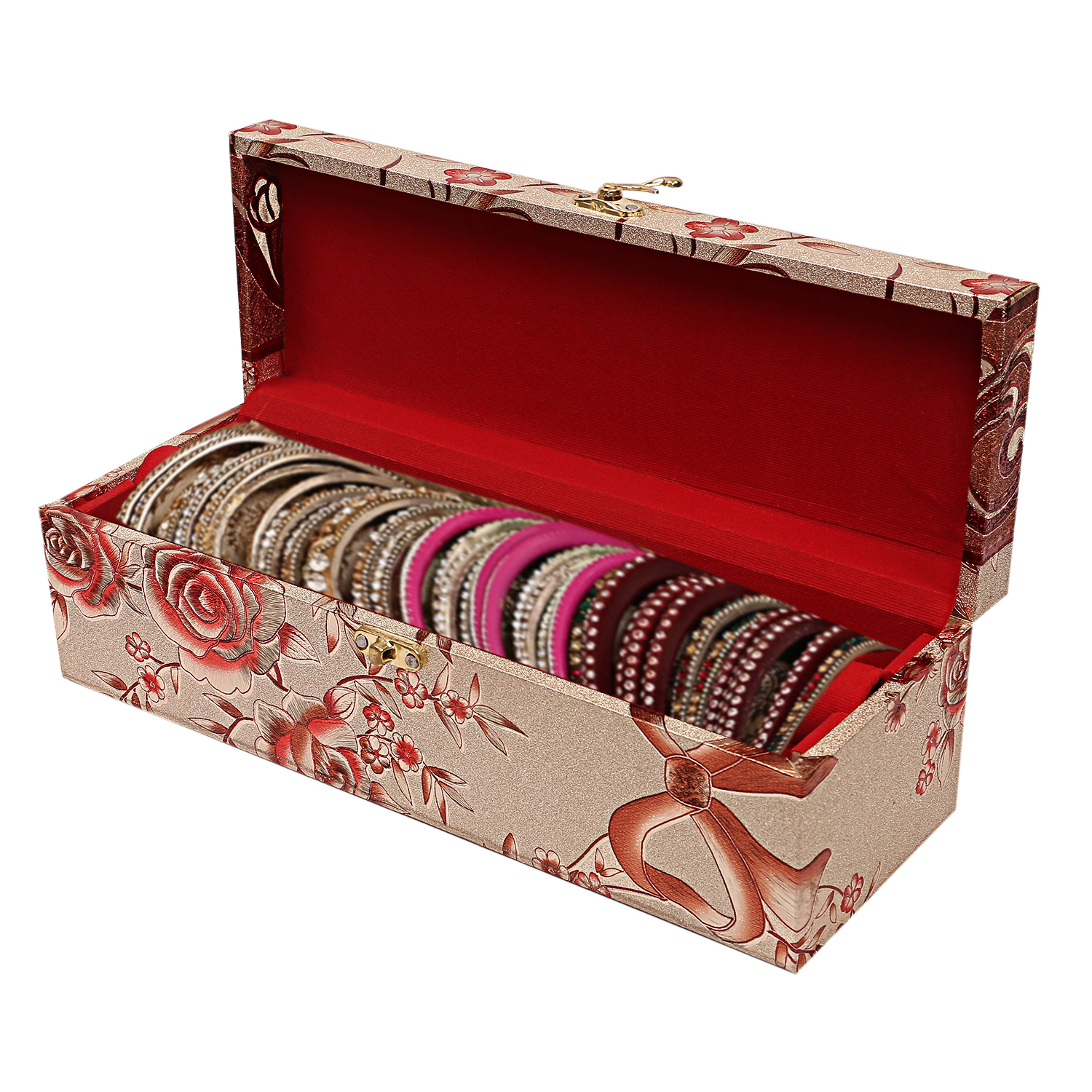 Kuber Industries Wooden 1 Piece One Rod Bangle Storage Box with Lock System (Gold) -CTKTC6860