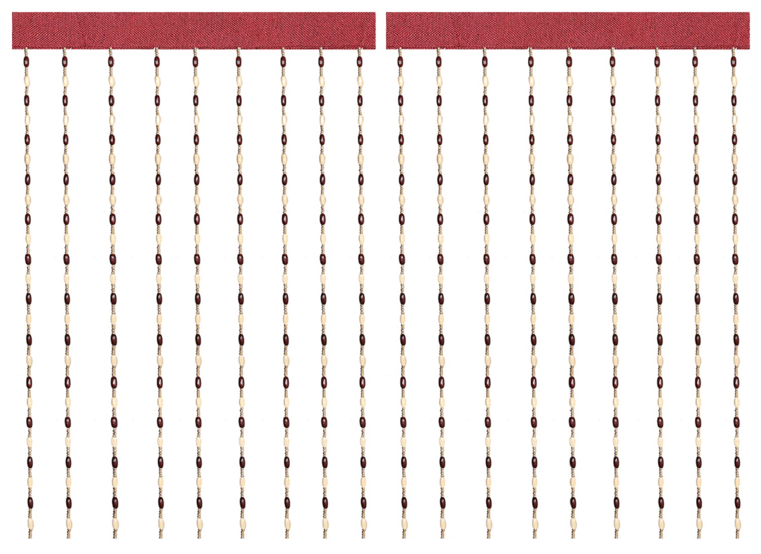 Kuber Industries Wooden 2 Pieces Sparkling Beaded String Shear Hanging Door Curtain 7 Feet (Maroon) -CTKTC13024