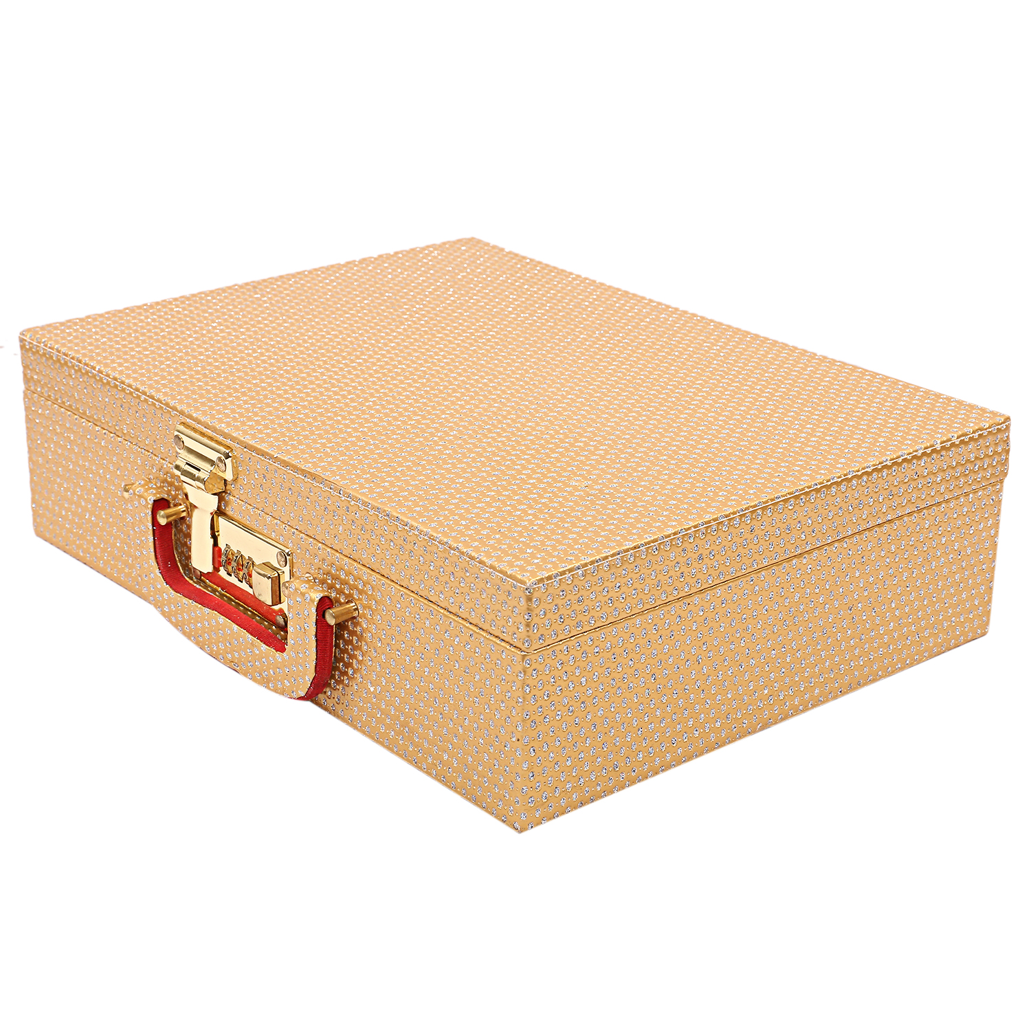 Kuber Industries Wooden 2 Pieces Three Rod Bangle Storage Box (Gold) -CTKTC8683
