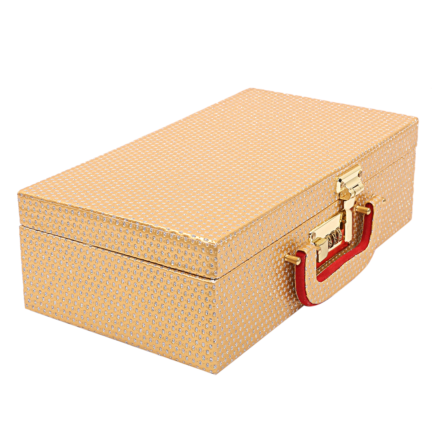 Kuber Industries Wooden 2 Pieces Two Rod Bangle Storage Box (Gold) -CTKTC8690