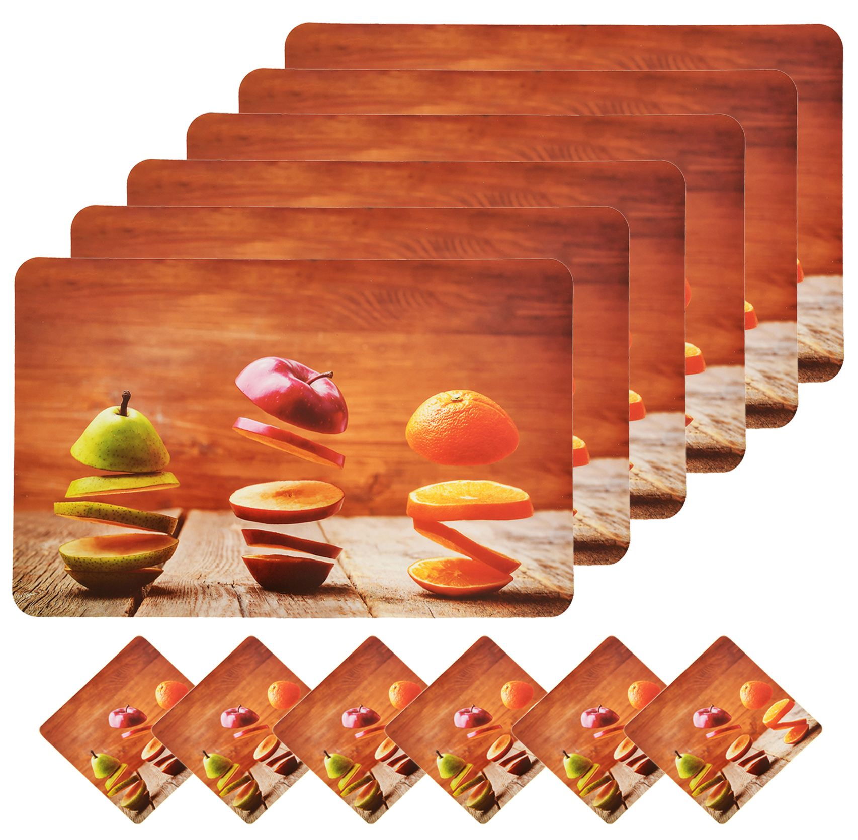 Kuber Industries Wooden Fruits Design PVC 6 Piece Dining Table Placemat Set with Tea Coasters (Brown)