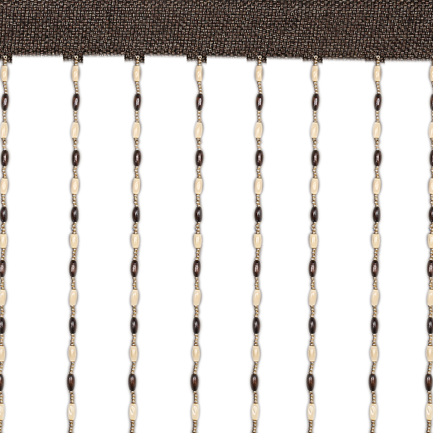 Kuber Industries Wooden Sparkling Beaded String Shear Hanging Door Curtain 7 Feet (Brown) -CTKTC12749