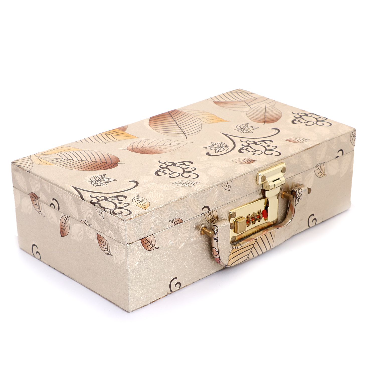 Kuber Industries Wooden Two Rod Bangle Storage Box, (Gold) - CTKTC30648