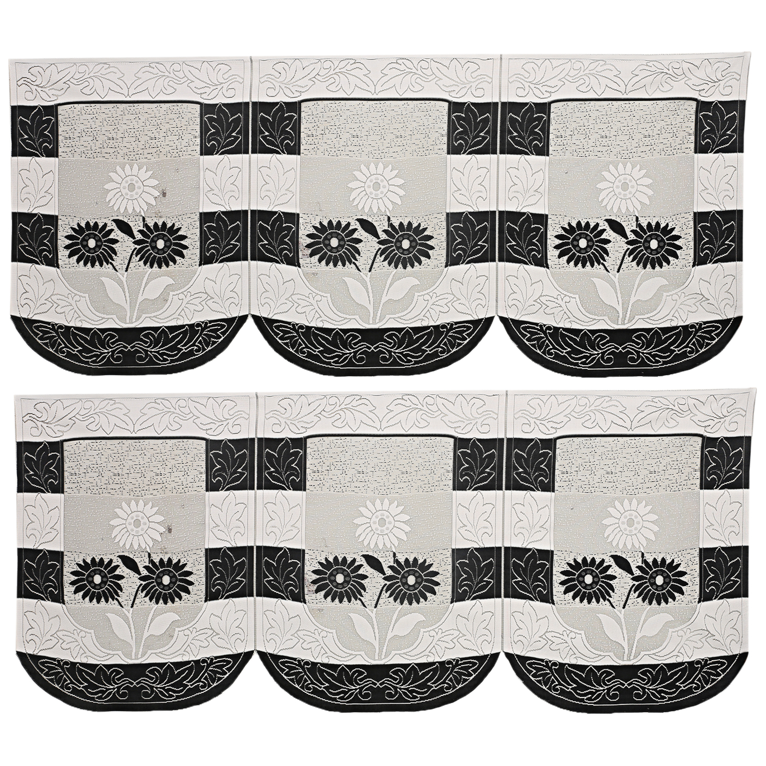 Kuber Inudustries Cotton 6 Pieces 5 Seater Sofa Cover Set (Black & White)-CTKTC3480