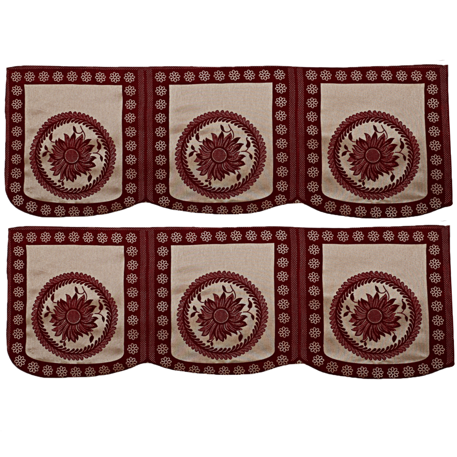 Kuber Inudustries Velvet 6 Pieces 5 Seater Sofa Cover Set (Maroon)-CTKTC3488