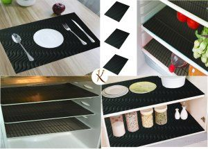 Kuber Industries™ Refrigerator Mat/Fridge Mat/Drawer Mat/Place Mat Set of 6 Pcs (13*19 Inches) (Black) Multi Purpose Use FRP017