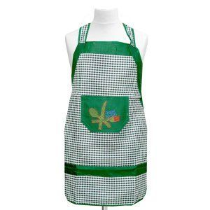 Kuber Industries Check Design Cotton Waterproof Kitchen Apron With Front Pocket In Heavy Cloth Material-Code015