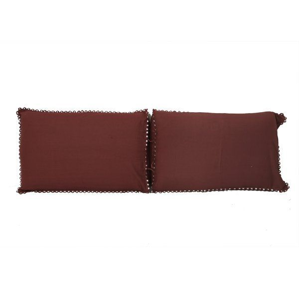 "Kuber Industriesâ""¢ Solid Plain Premium Cotton Pillow Cover with Lace Design,Set of 2 - Brown - KU91"
