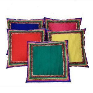 Kuber Industries™ Designer Lace Striped Cushion Cover - Set of 5 - Multicolor (16*16) Inches