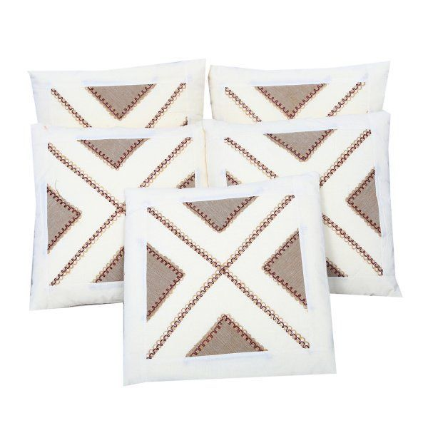 Kuber Industries™ Cotton Embroided Cream Cushion Cover Set of 5 - 16*16 Inches